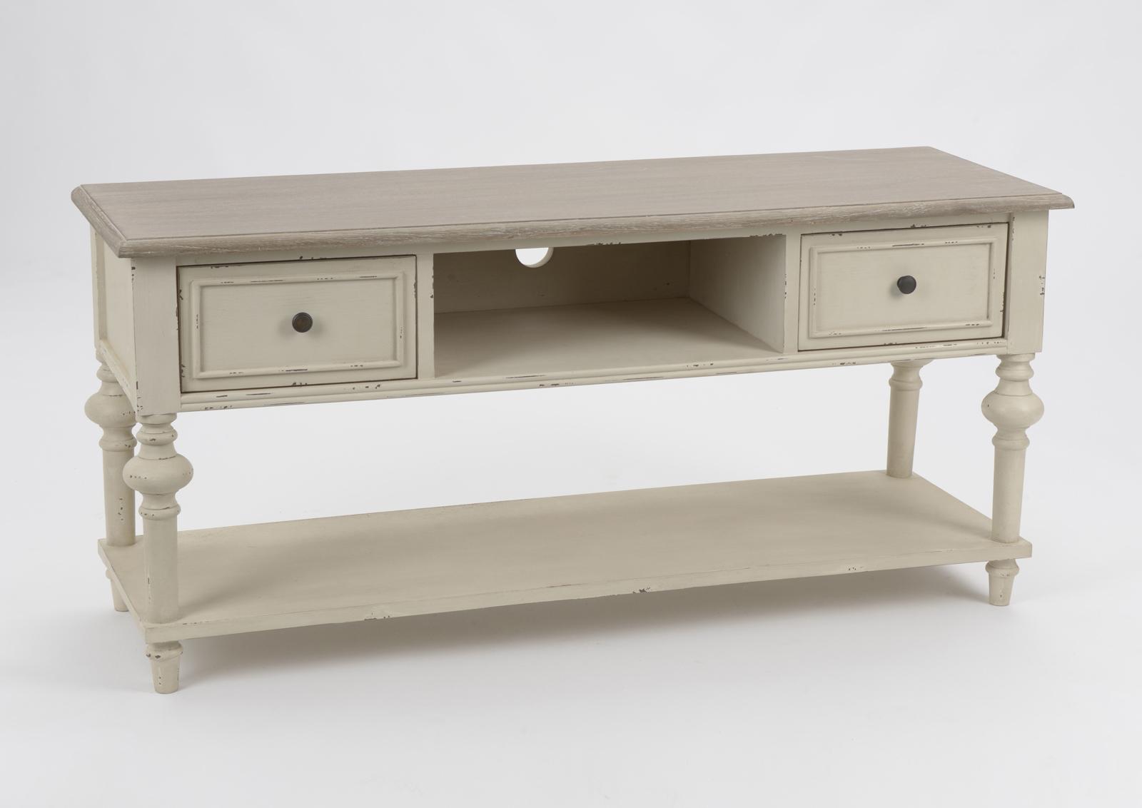meuble tv bois vieilli bicolore 2 tiroirs legende l120xp40xh55 amadeus