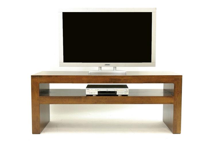 meuble tv console basse hevea double plateaux 150x50x60cm olga