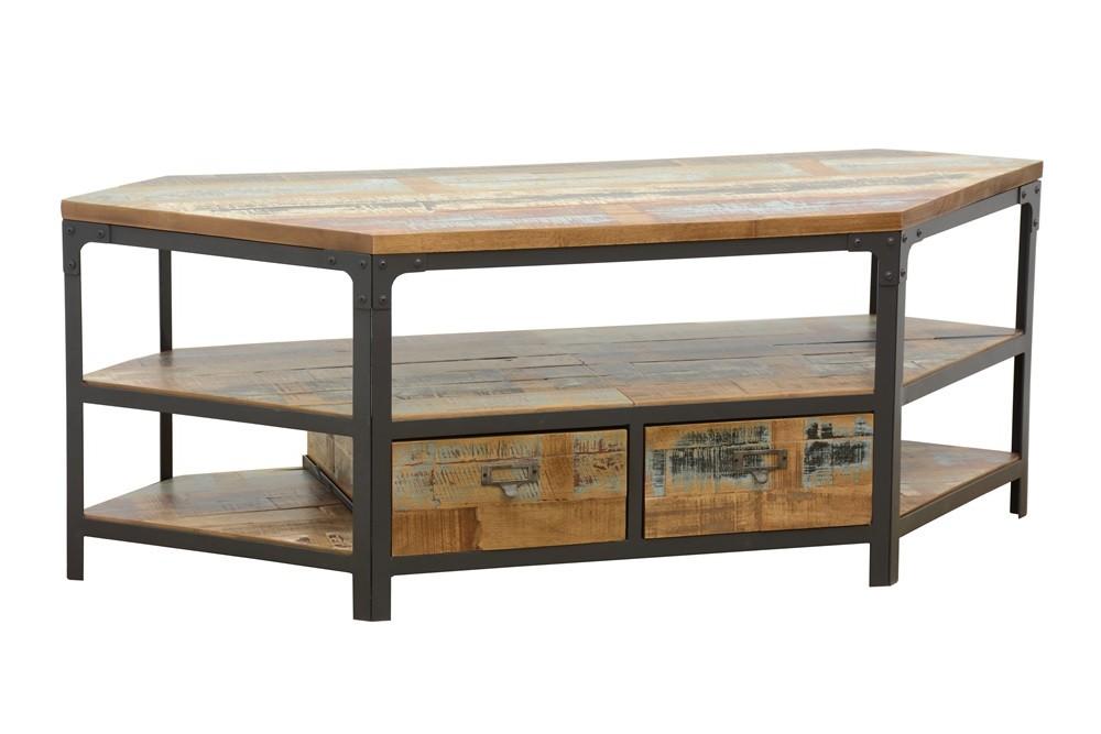 meuble tv d angle 2 tiroirs 3 niches ouvertes dont une grande en hevea recycle colore et metal 105x45x50cm loft colors