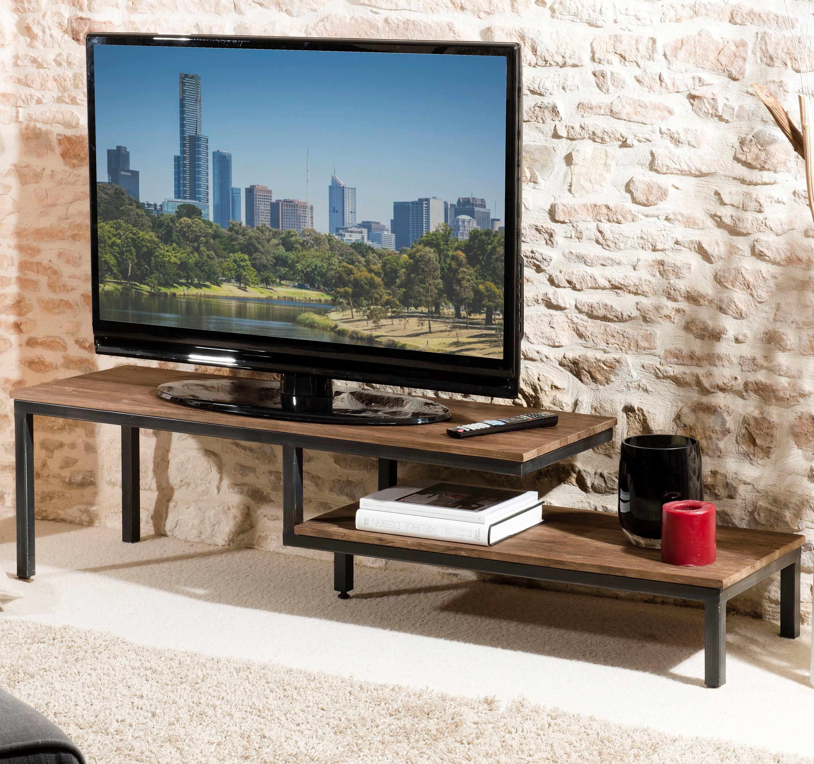 meuble tv destructure 2 niveaux en teck recycle et metal noir 161x40x40cm swing