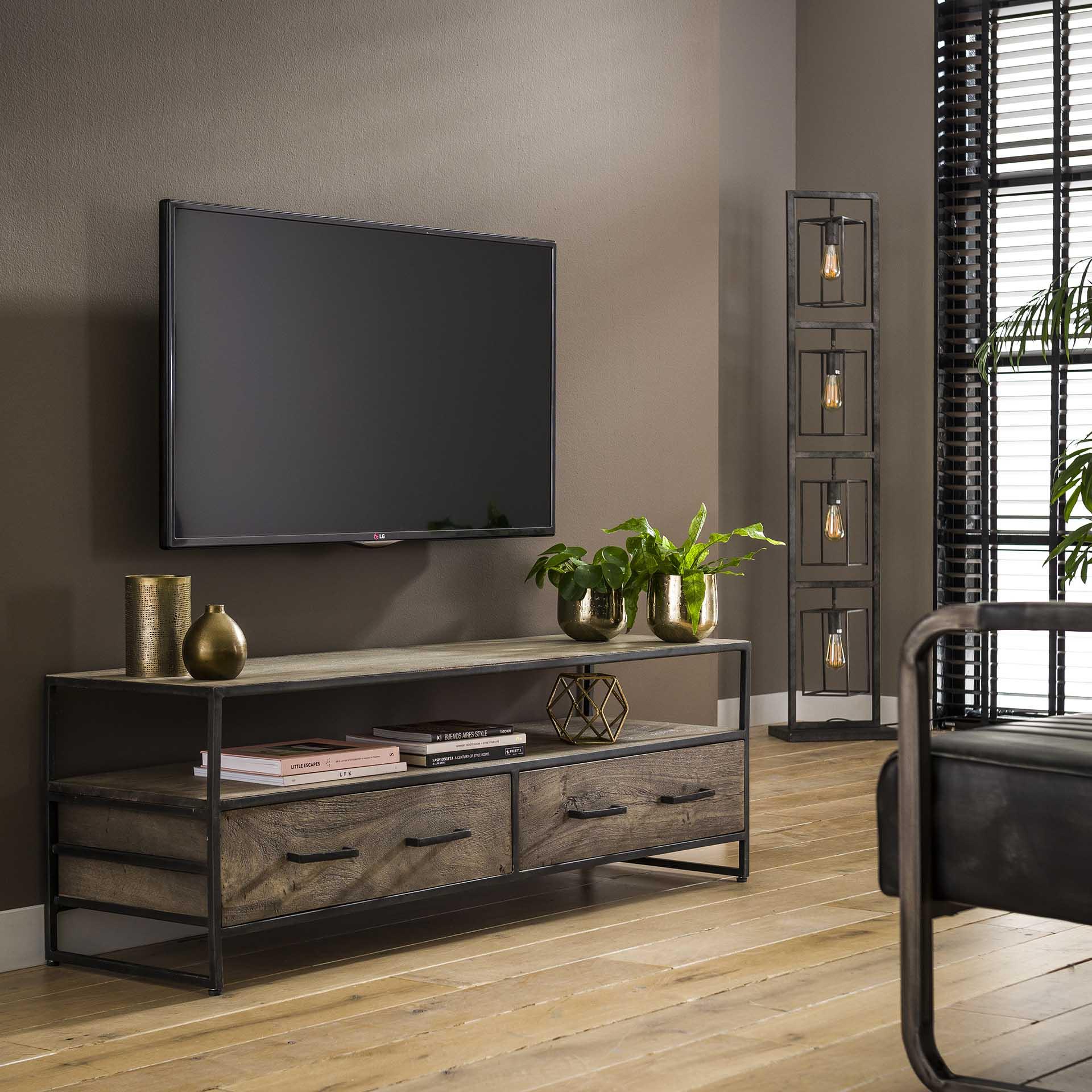meuble tv en bois grise oban