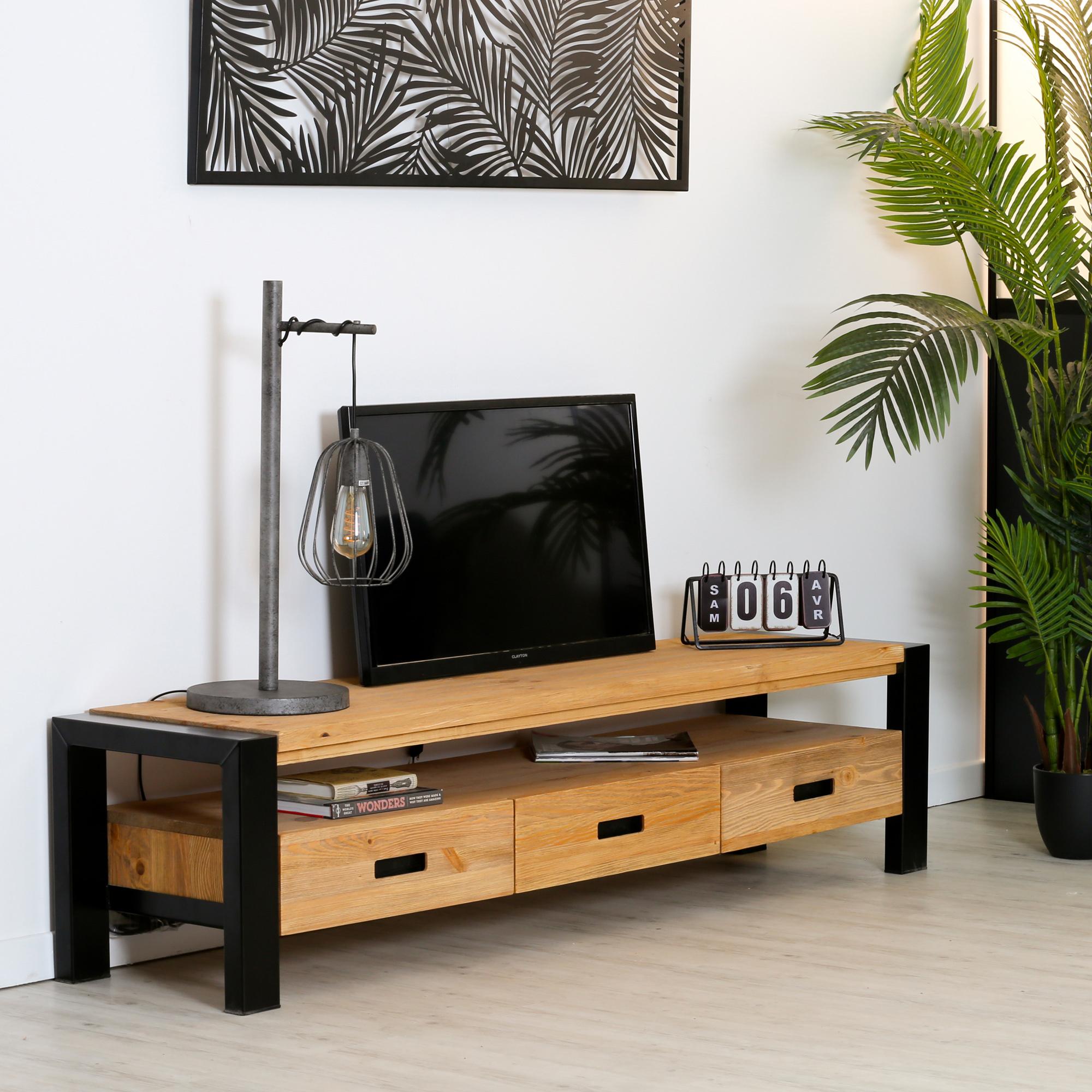 meuble tv en pin massif 3 tiroirs