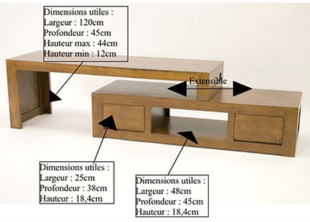 meuble tv hevea 2 parties 137cm olga