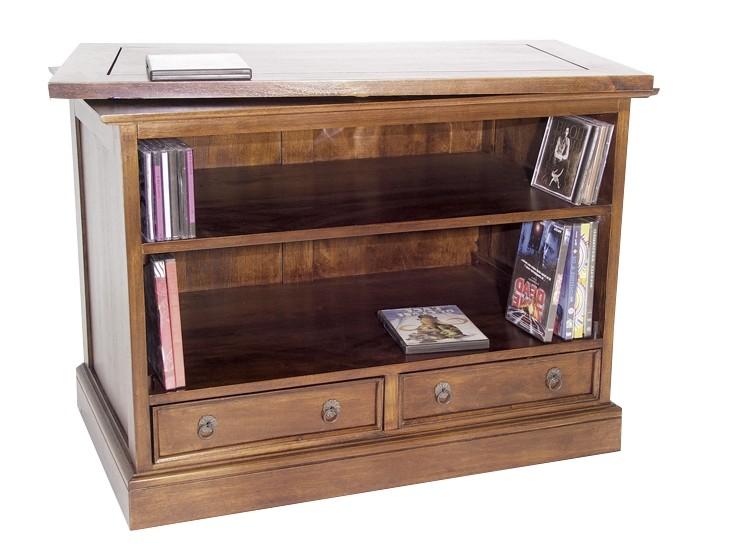 meuble tv hevea plateau tournant 2 tiroirs 2 niches 83x50x62cm tradition