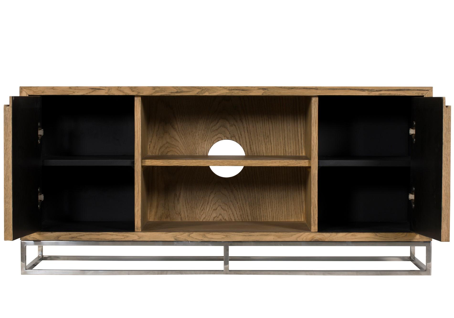 meuble tv moderne chene acier 120 cm riverside meubles tv pier import