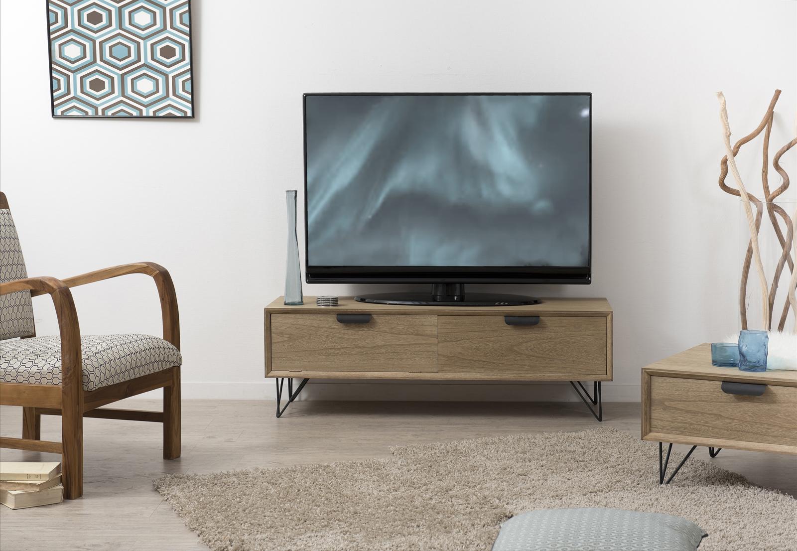 meuble tv retro bois 1 tiroir 1 porte pieds metal noir en epingle 3 tiges 120x40x39cm