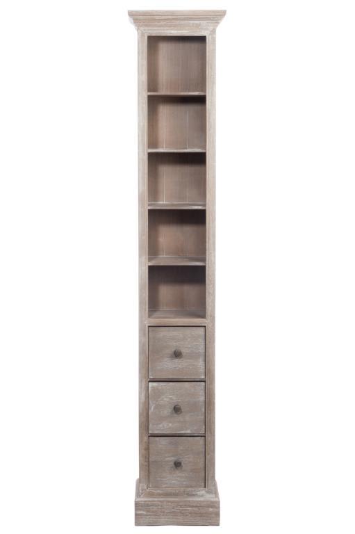 meuble type range cd bois naturel patine grise blanchi 5 niveaux et 3 tiroirs l35xp25xh184cm paolia