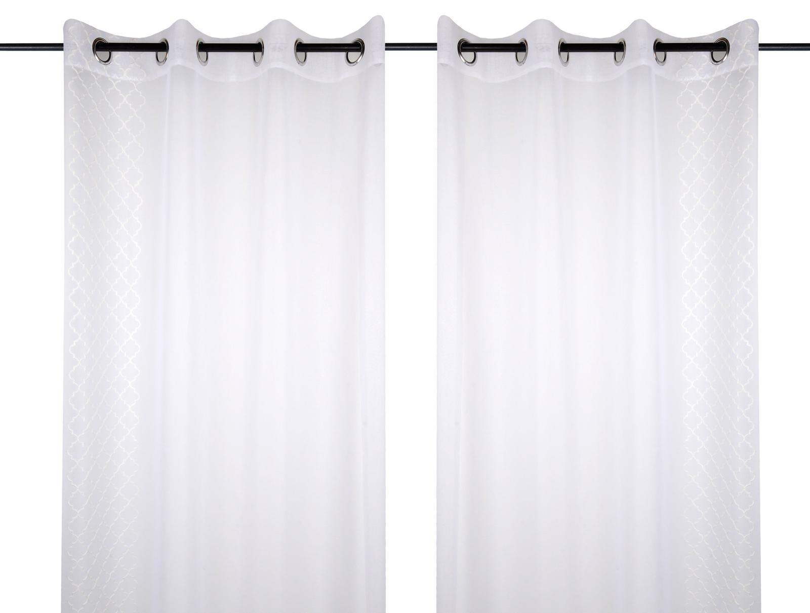 paire de voilages blanc a oeillets 135x260cm caliste