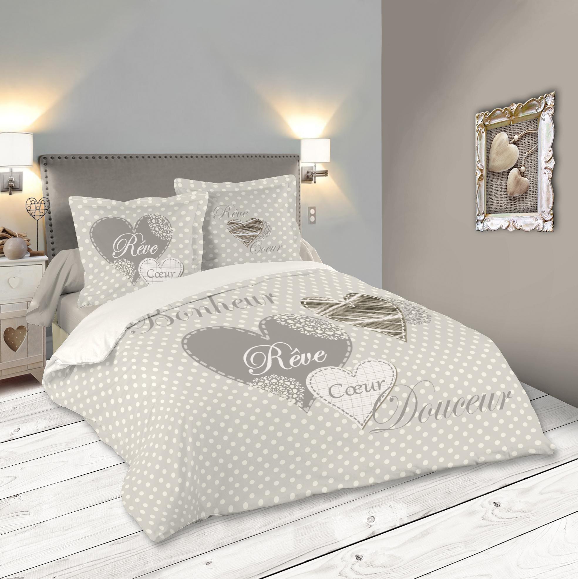 parure de lit romantique motif coeur 260x240cm housse de couette 2 taies 63x63cm lyna