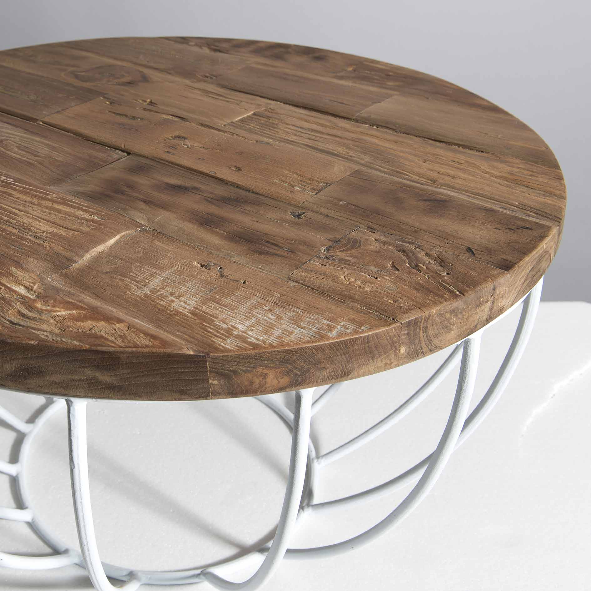 petite table basse ronde teck recycle structure filaire blanche swing