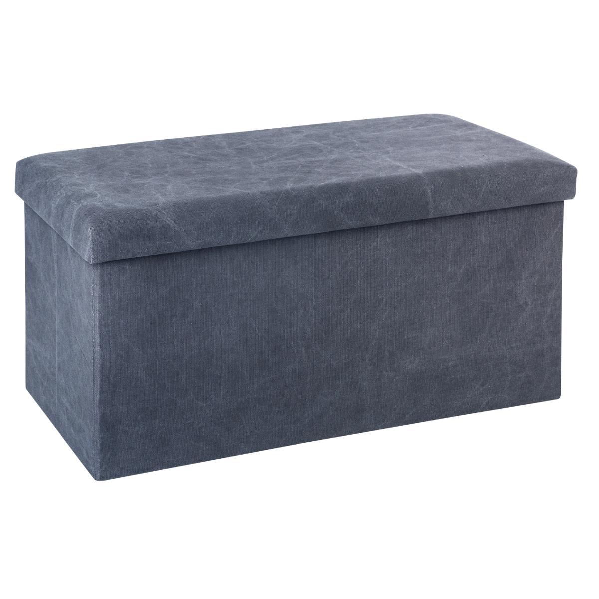 pouf coffre de rangement pliable gris fonce