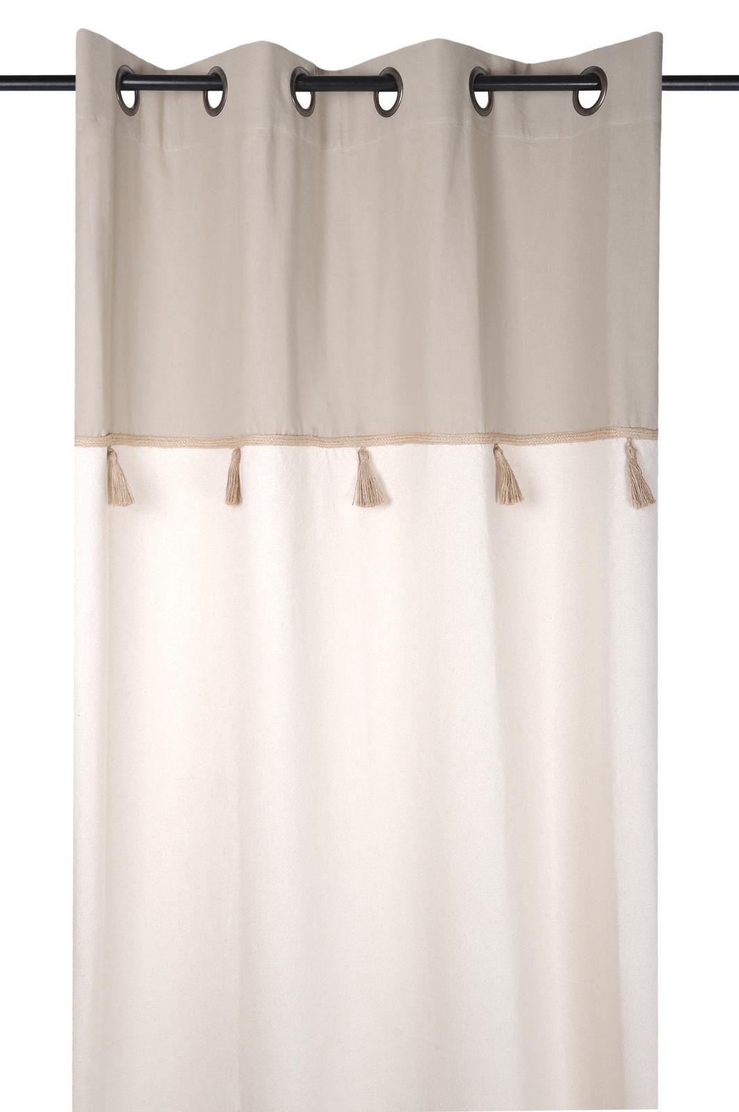 rideau beige et ecru avec pompons 140x260cm iceland