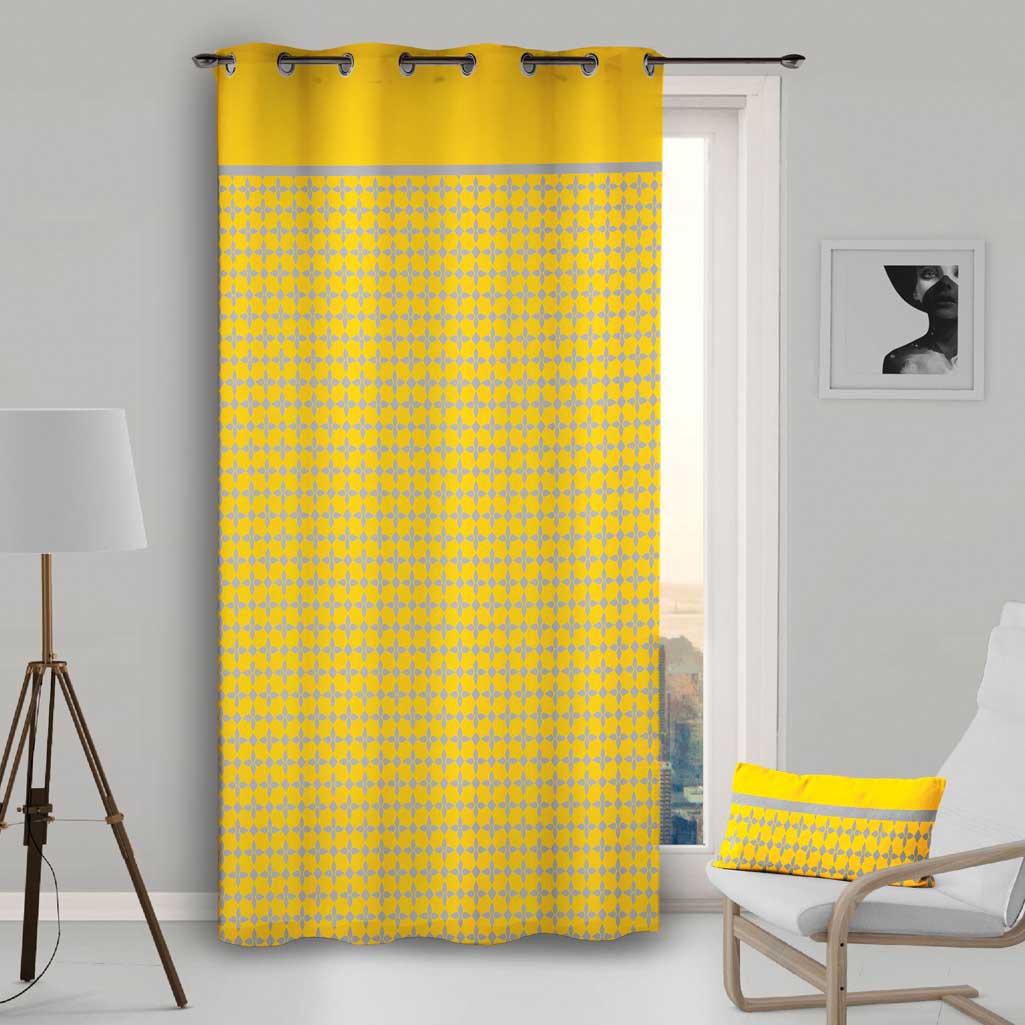 rideau jaune damier gris 135x250cm