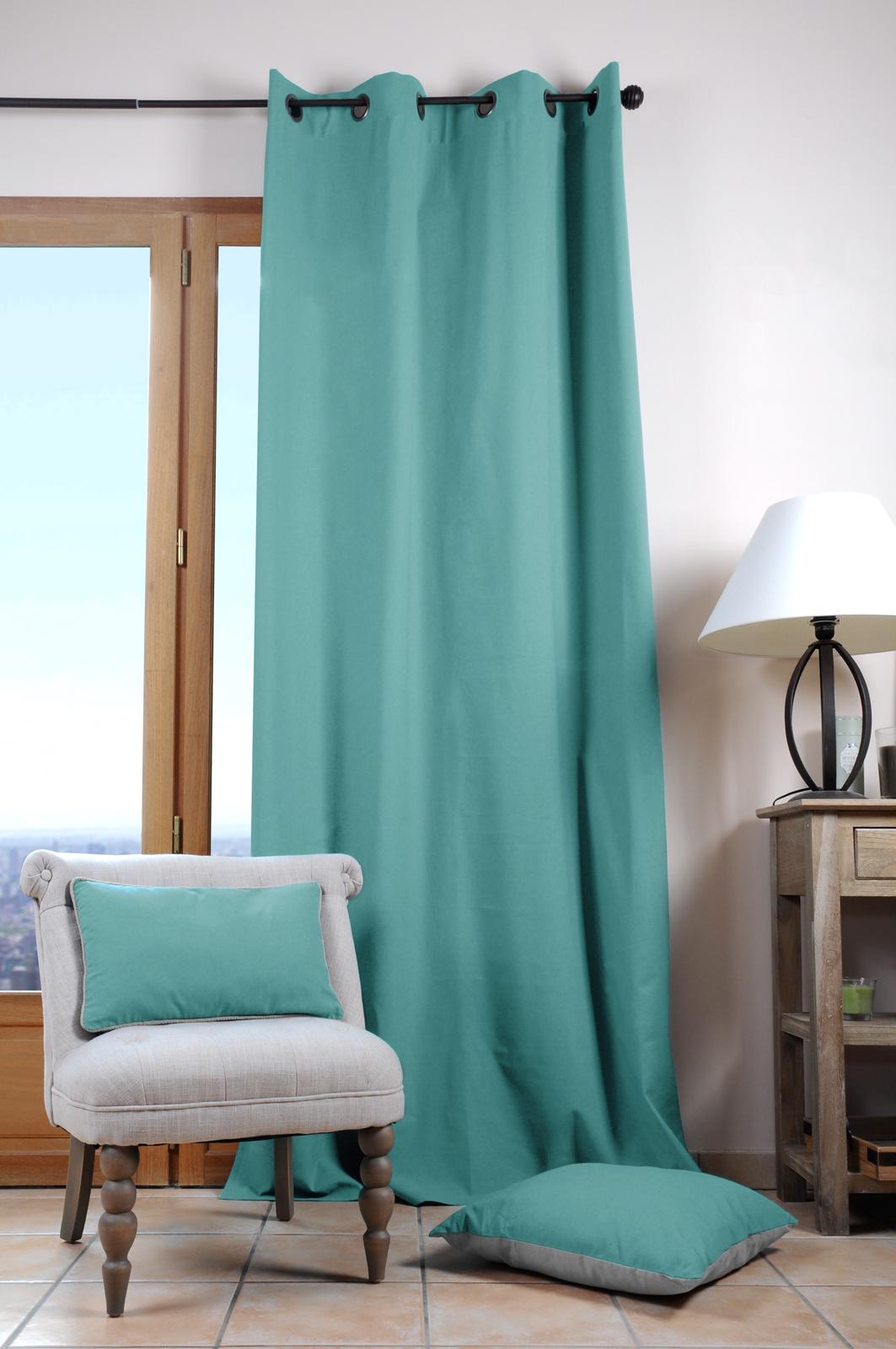 rideau uni bleu turquoise 135x240cm 100 coton duo