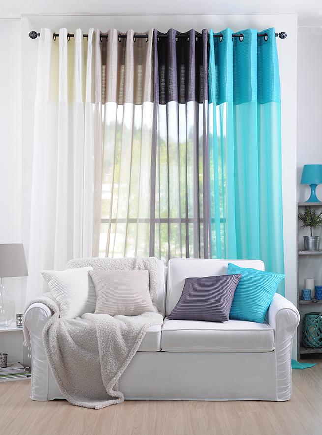 rideau voilage bleu rayures en relief 140x260cm a oeillets sochic