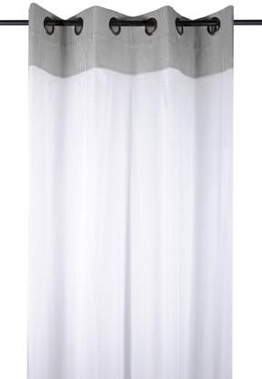 rideau voilage charme couleur gris raye blanc avec dentelle 135x260cm a oeillets 100 coton angele gris