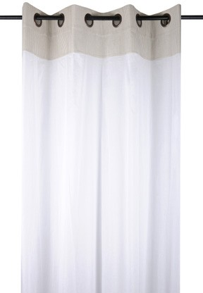 rideau voilage charme couleur lin raye blanc avec dentelle 135x260cm a oeillets 100 coton angele lin