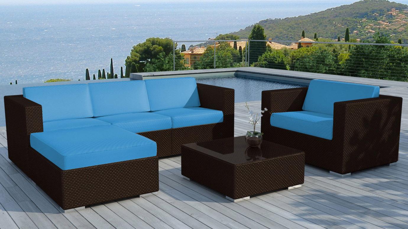salon de jardin resine noire 1 table basse 1 fauteuil 1 canape d angle coussins bleus copacabana