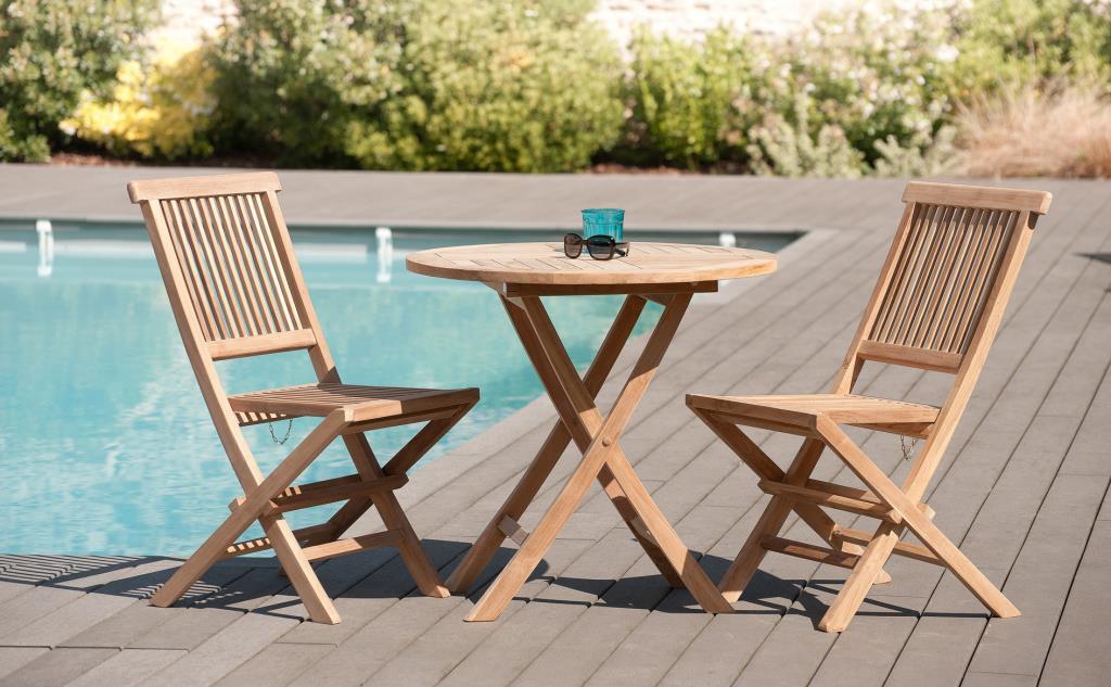 salon de jardin en teck brut table ronde pliante 80cm 2 chaises summer