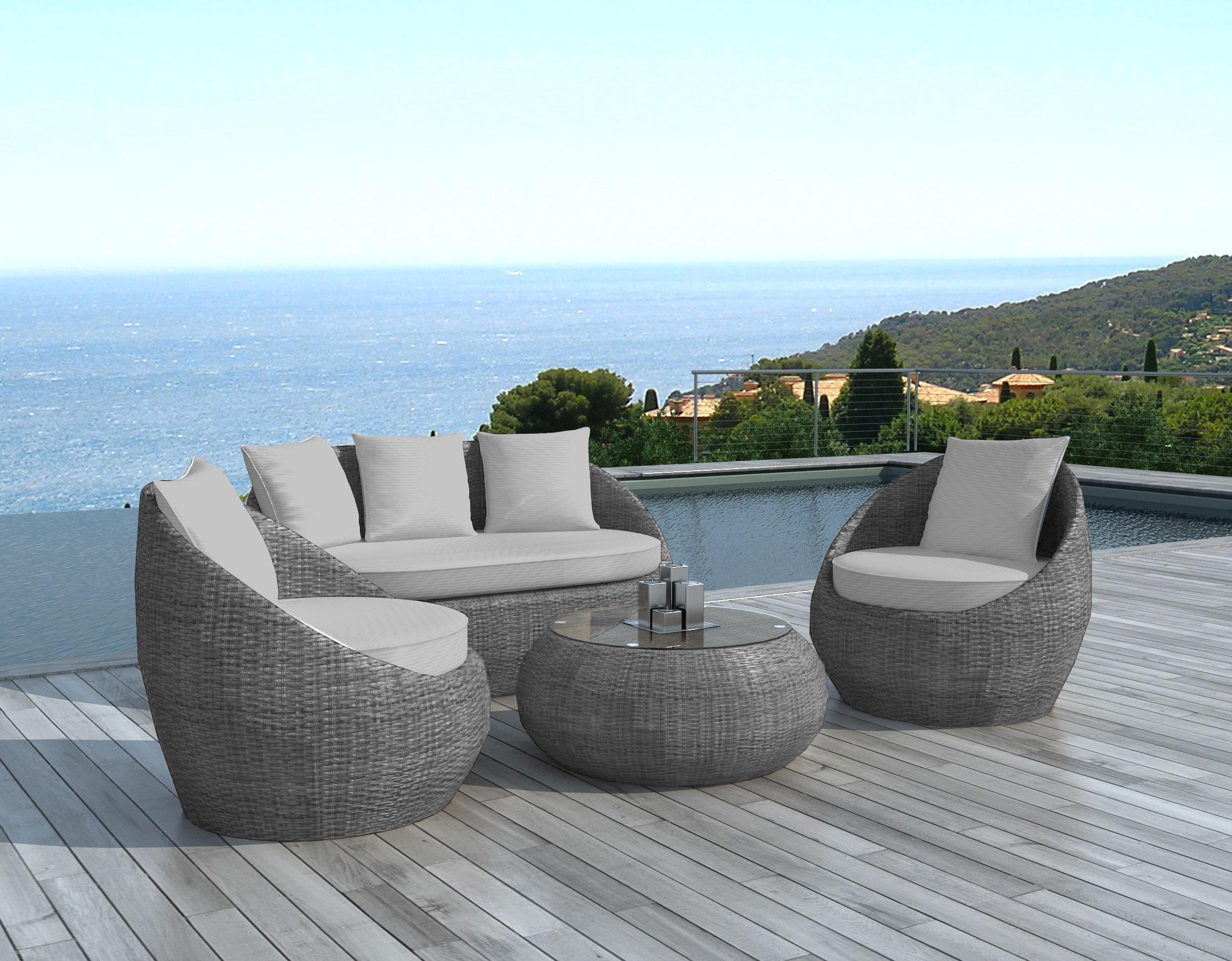 salon de jardin malaga 4 pieces en resine ronde tressee grise et coussins tissu gris clair