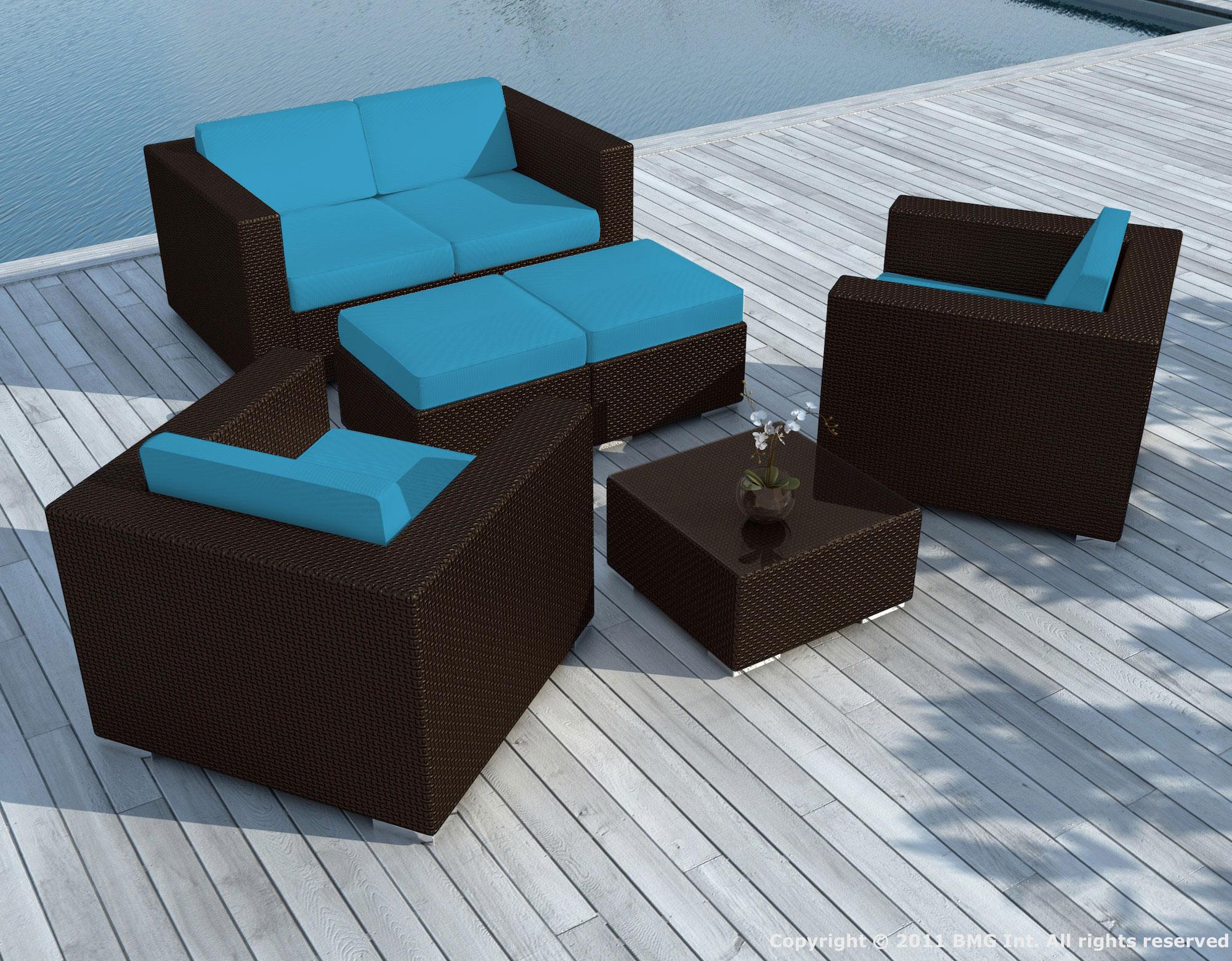 salon de jardin pausa 6 pieces en resine tresse couleur chocolat et coussins tissu blanc ecru jeu de housses tissu bleu
