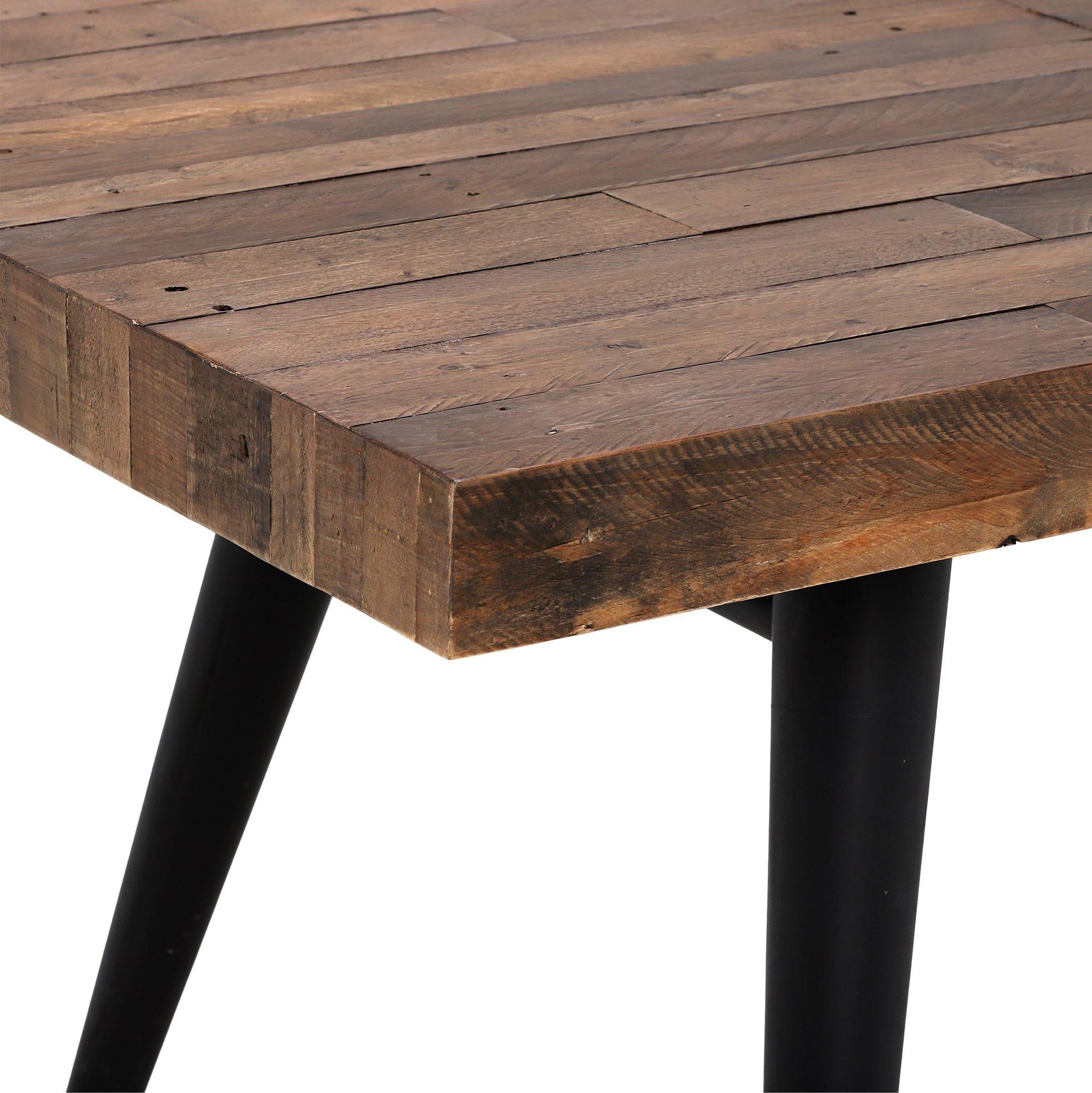 table a manger extensible bois recycle pietement effet laiton vieilli 140 180 cm adelaide