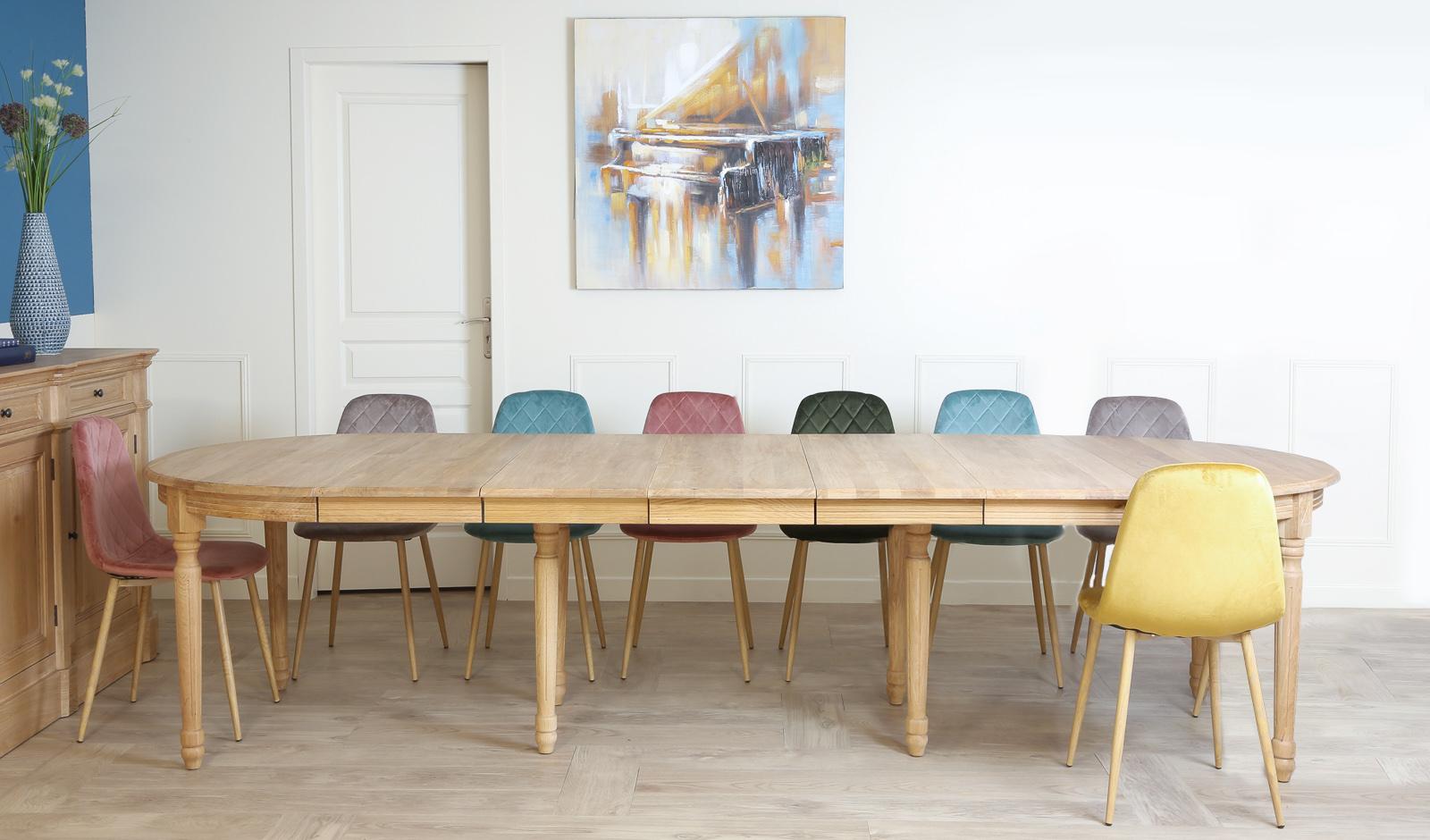 table a manger extensible classique chic chene massif 120 320cm medicis
