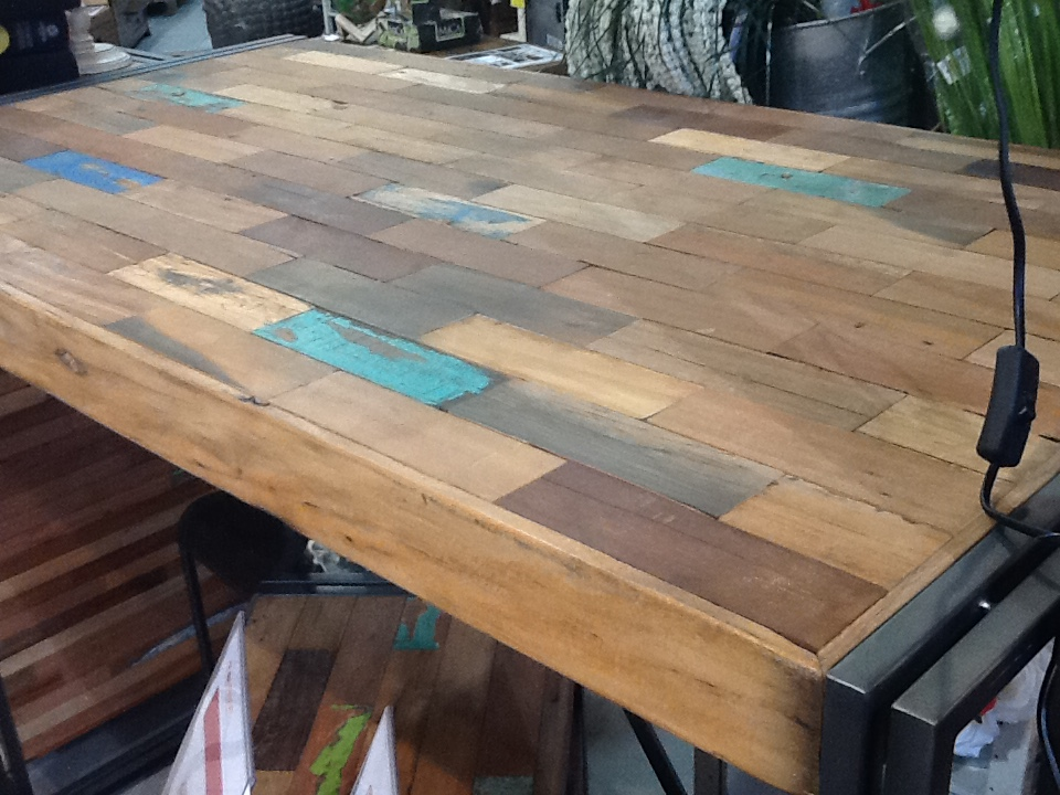 table basse carree bois recycle 80x80 caravelle