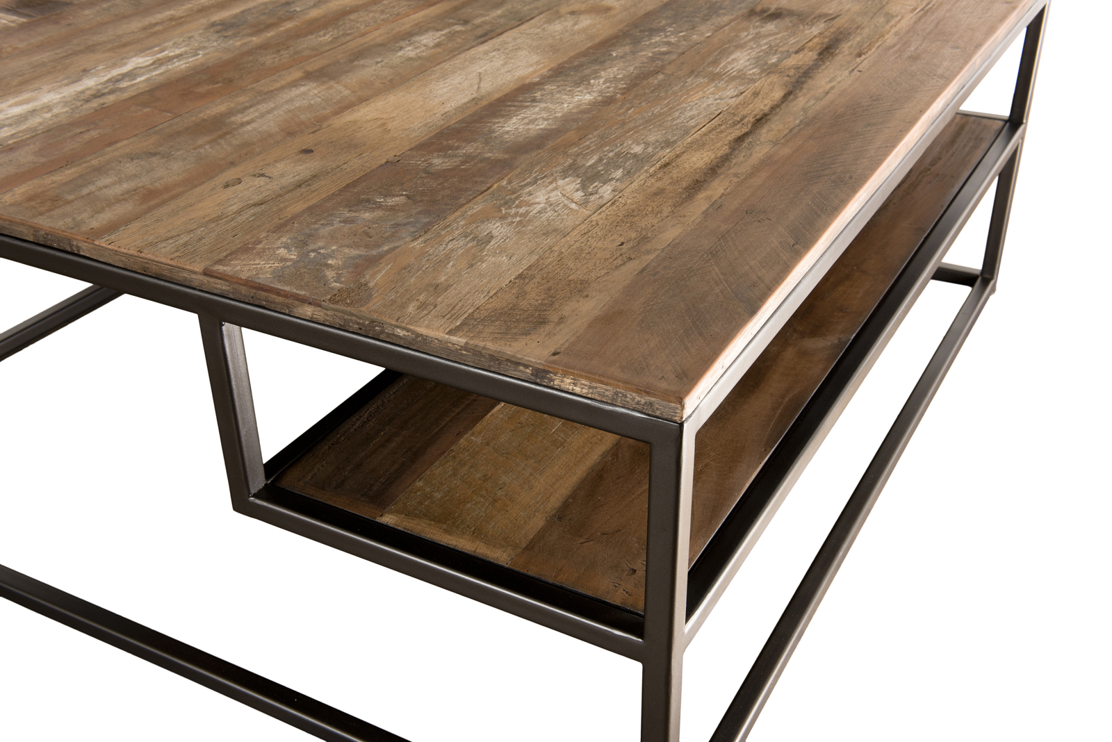table basse carree teck recycle tablettes swing