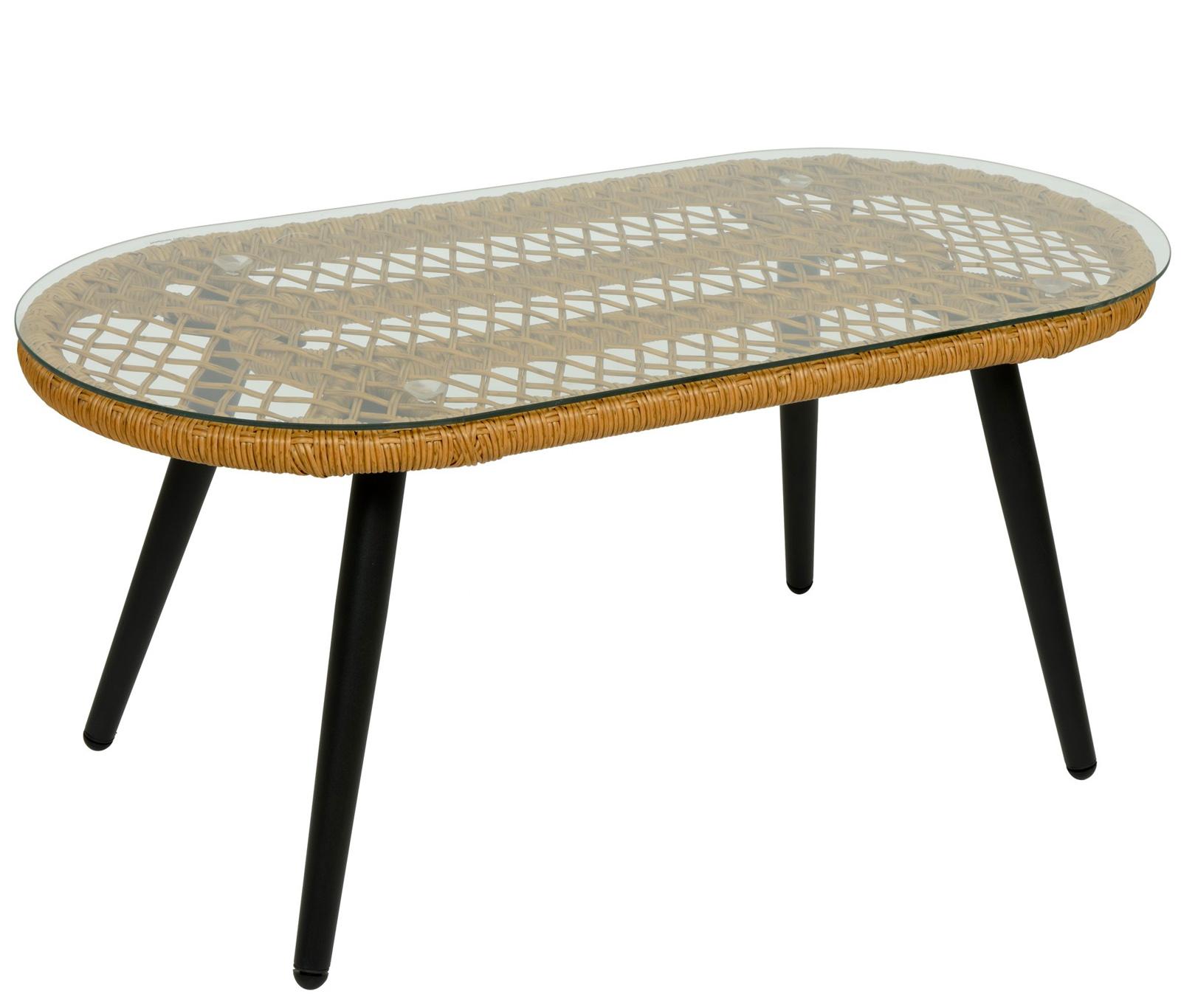 table basse de jardin resine tressee finition naturelle kampala