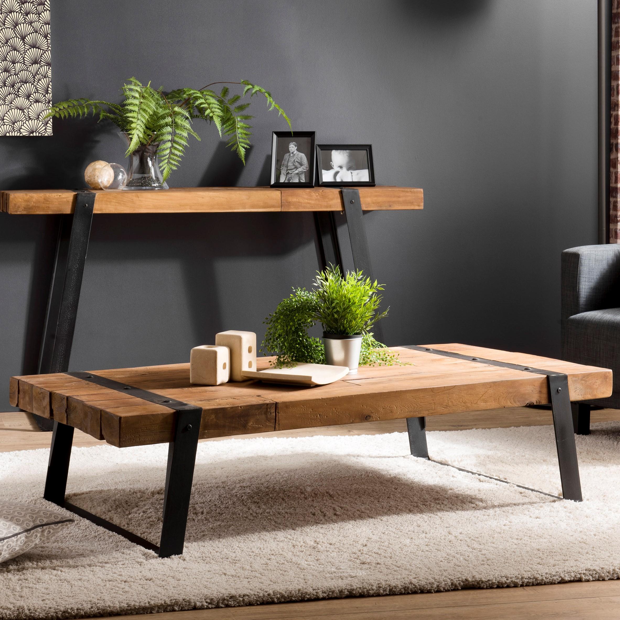 table basse industrielle bois recycle swing