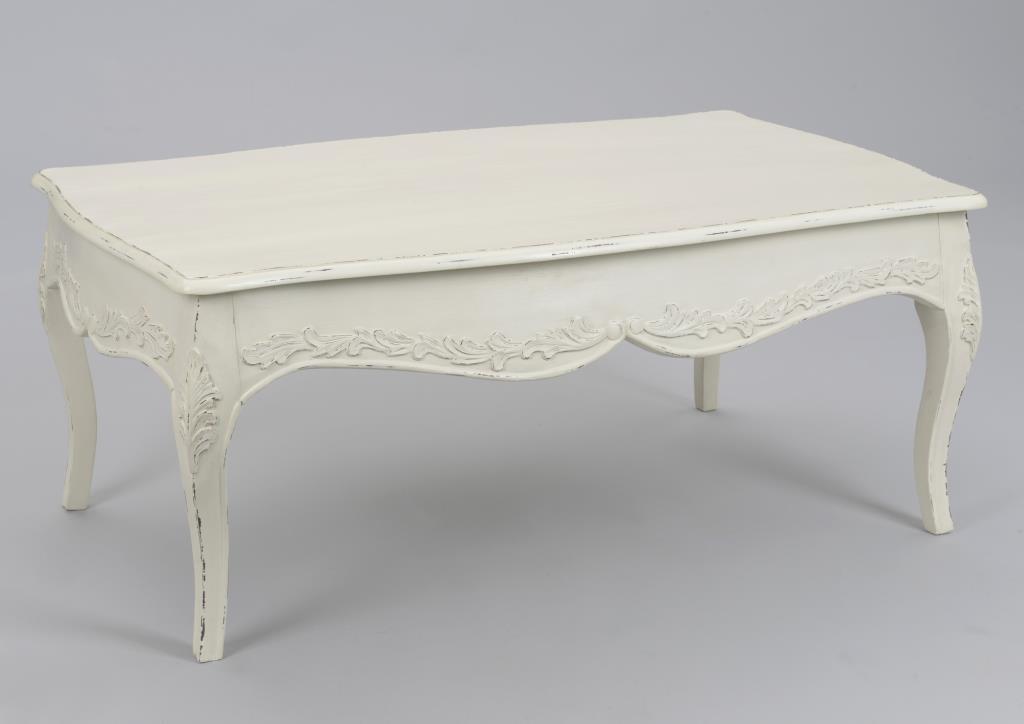table basse louis xv bois blanc vieilli romantique 110 cm comtesse l 110 x p 65 x h 45 amadeus