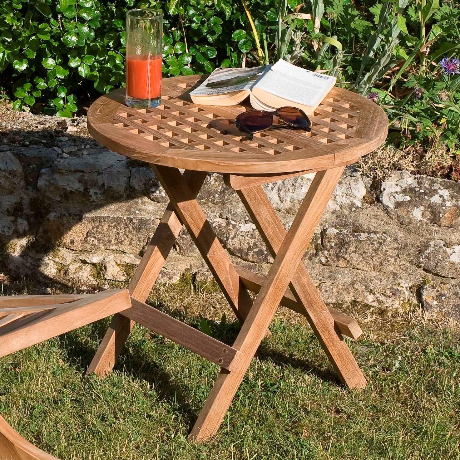 table d appoint de jardin en teck ronde pliante 50cm summer