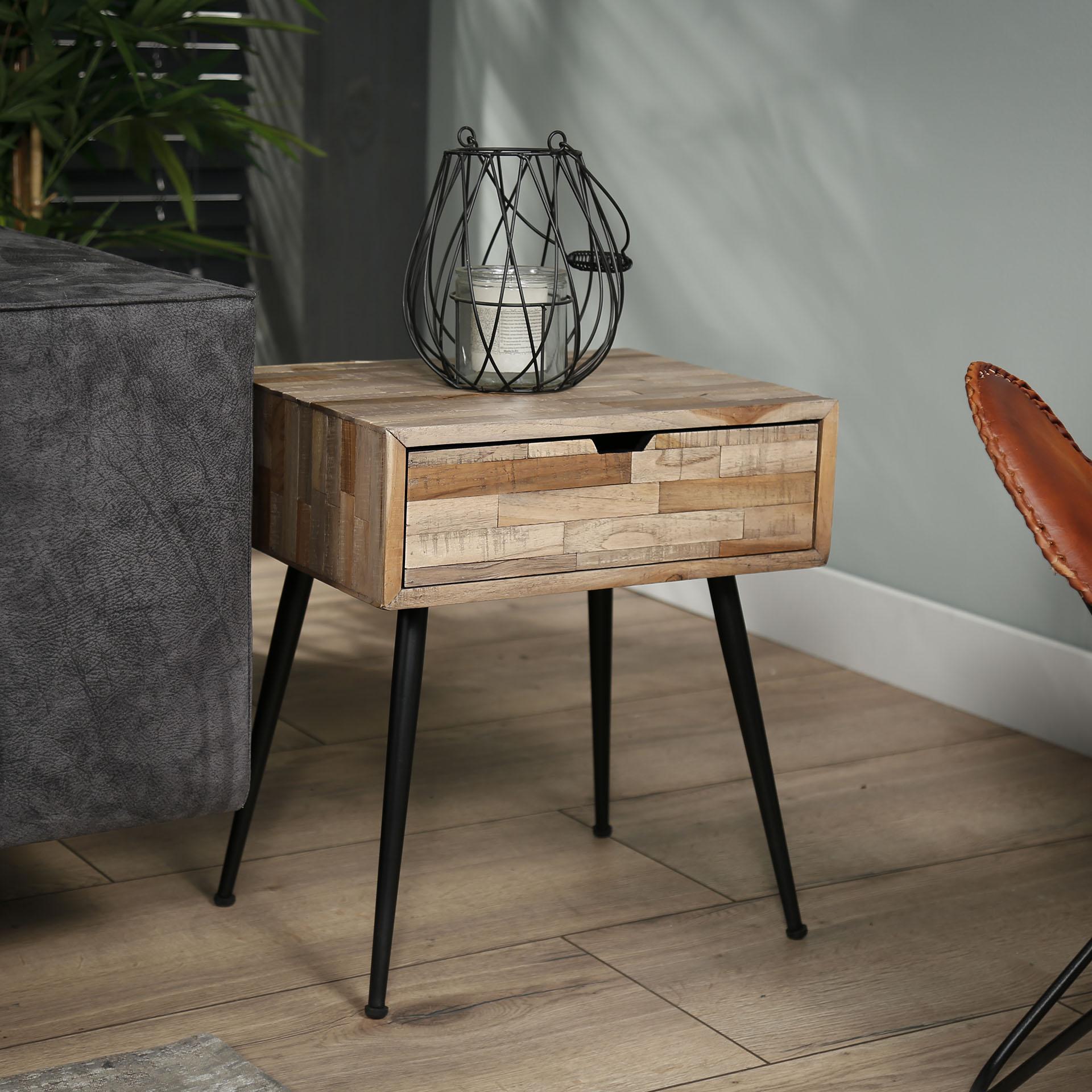 table de chevet bois de teck recycle metal java