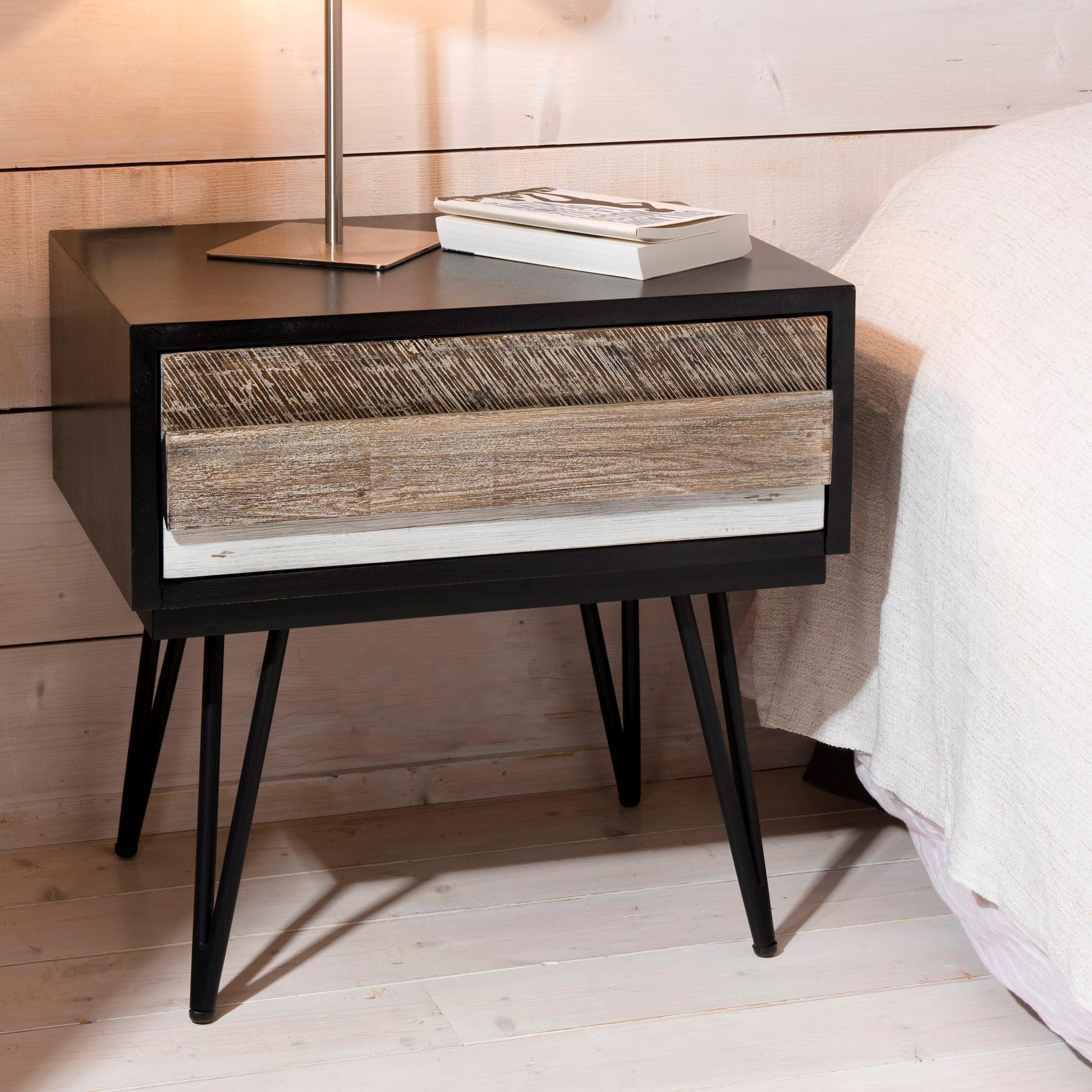 table de chevet en acacia massif noir 1 tiroir bandes teintes variees et pieds metal noir 60x45x59 5cm cadix