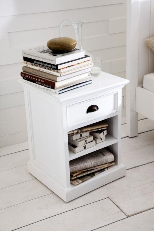 table de chevet moderne bois blanc 2 etageres 1 tiroir acajou 60x45cm royan
