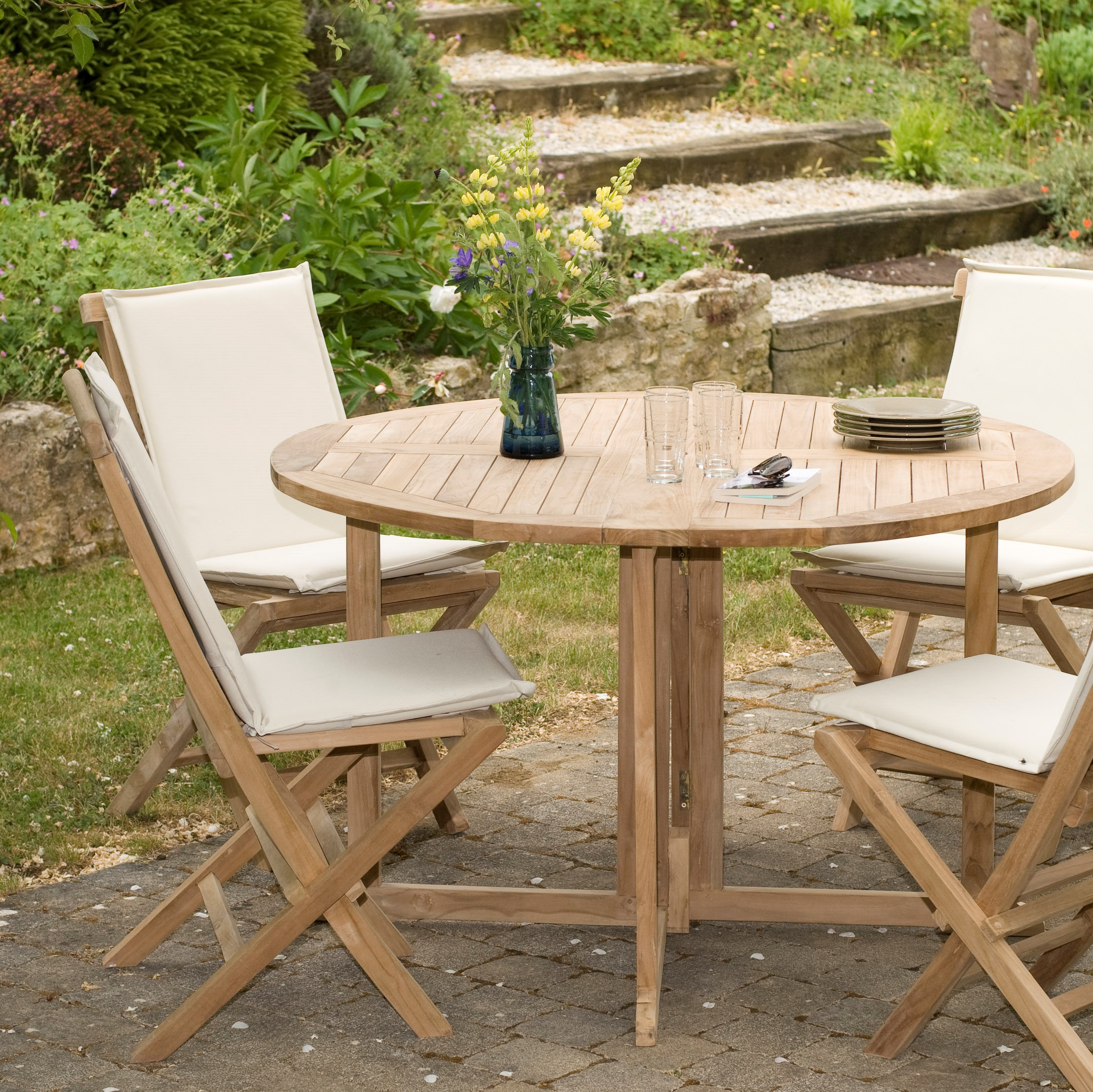 table de jardin en teck ronde pliante papillon 120cm summer