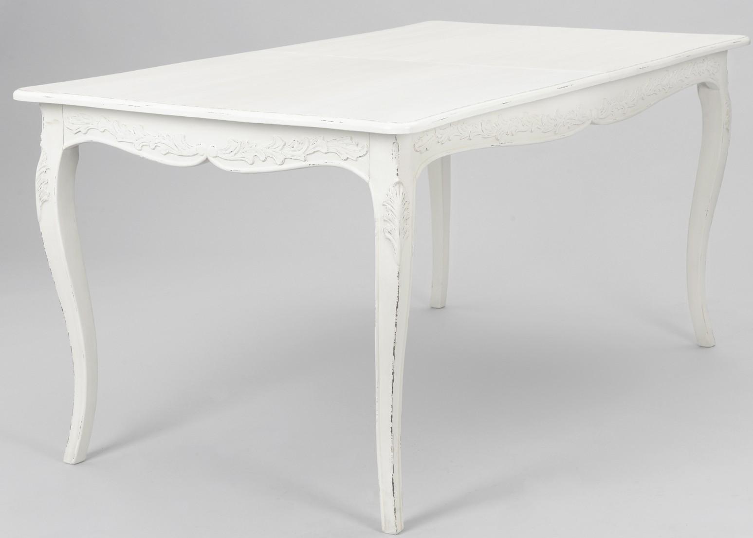 table de repas extensible 160 200 cm bois blanc romantique comtesse l 160 x p 90 x h 75 amadeus