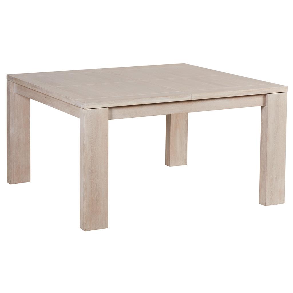 table de repas extensible chene massif cire blanchi 140x140x77cm manille