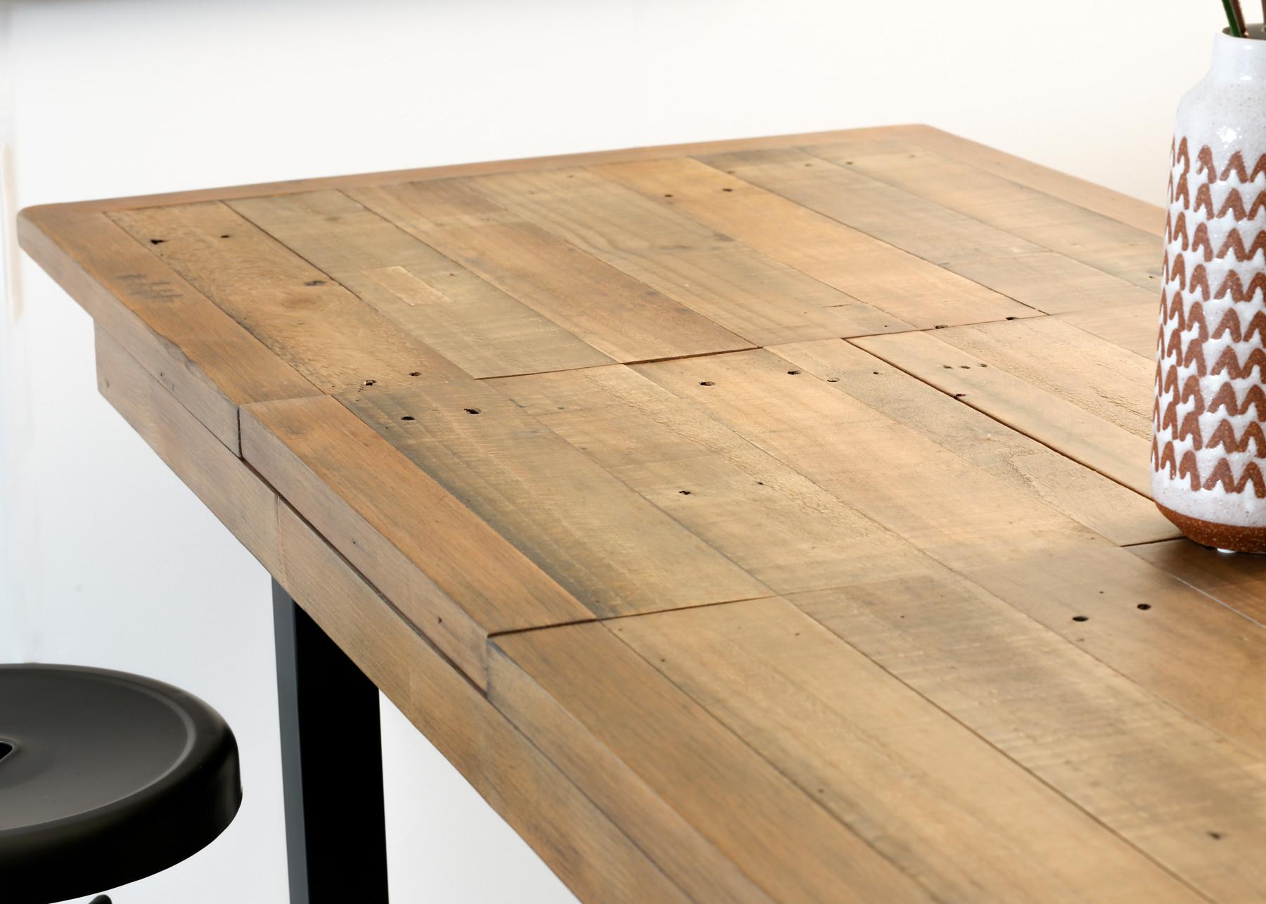 table haute extensible bois recycle 120 160 cm brisbane