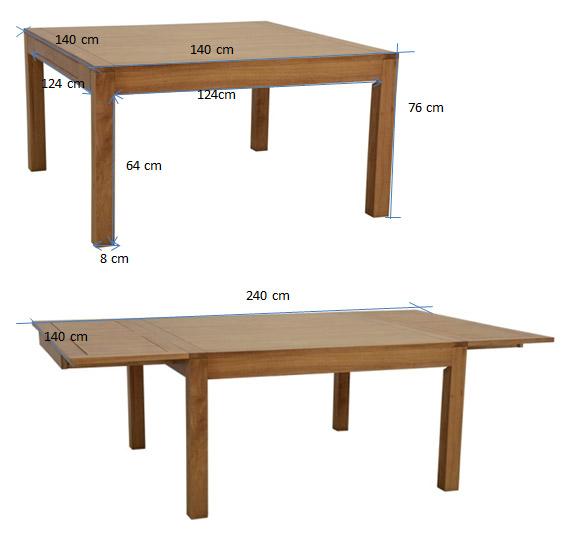 table repas carree extensible hevea 140 240cm olga