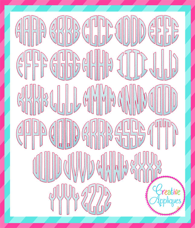 Four Letter Circle Sketch Monogram Font Jumbo 6 Sizes Products