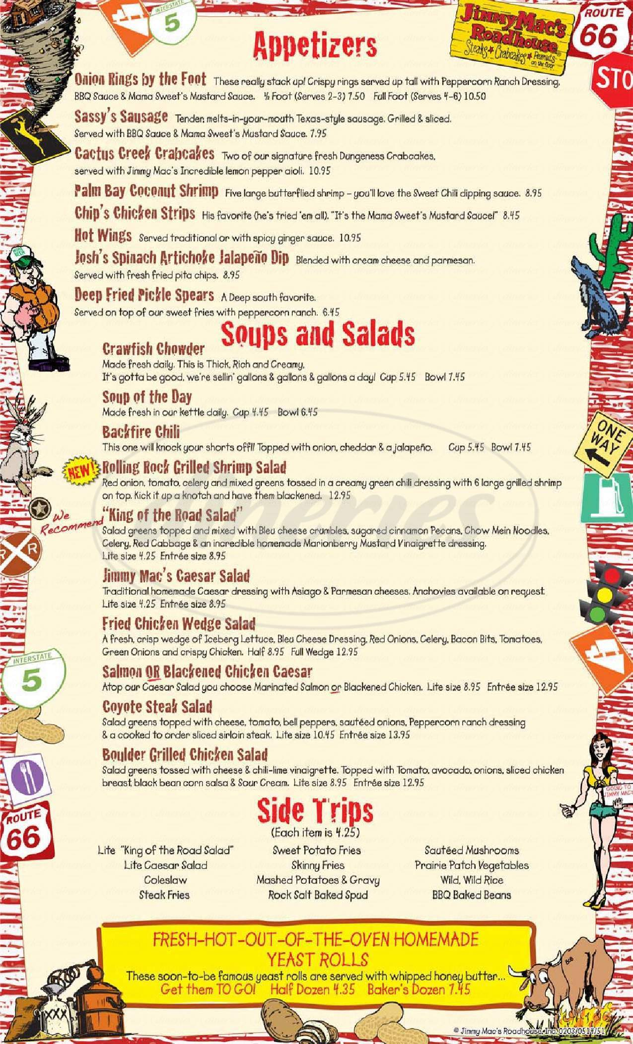 Jimmy Mac's Roadhouse Big Menu - Federal Way - Dineries