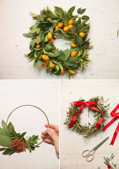 Christmas Decorations Simple Wreaths Kumquat Bay Leaf Olive Branch