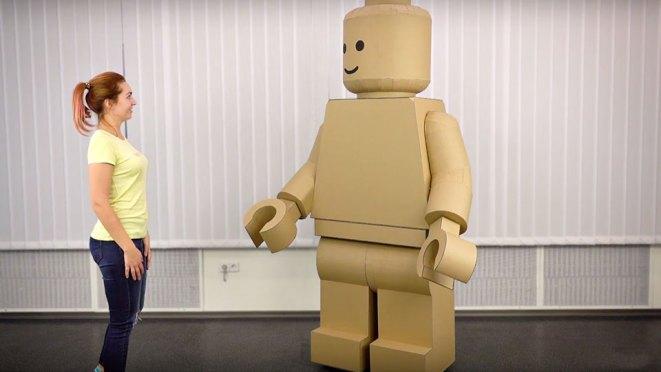 DIY Cardboard Giant LEGO Man Costume The Q