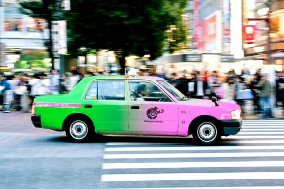 Color Changing Taxis In Tokyo Japan