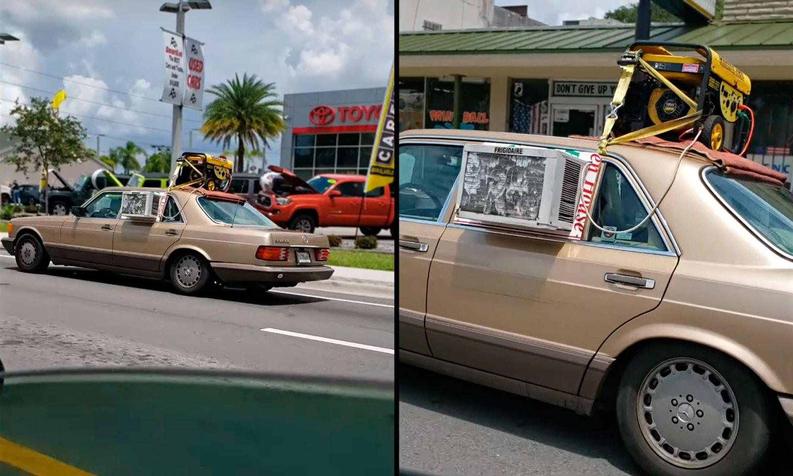 Car No Air-Con? No Problem  Just Mount A Window A/C Unit And A