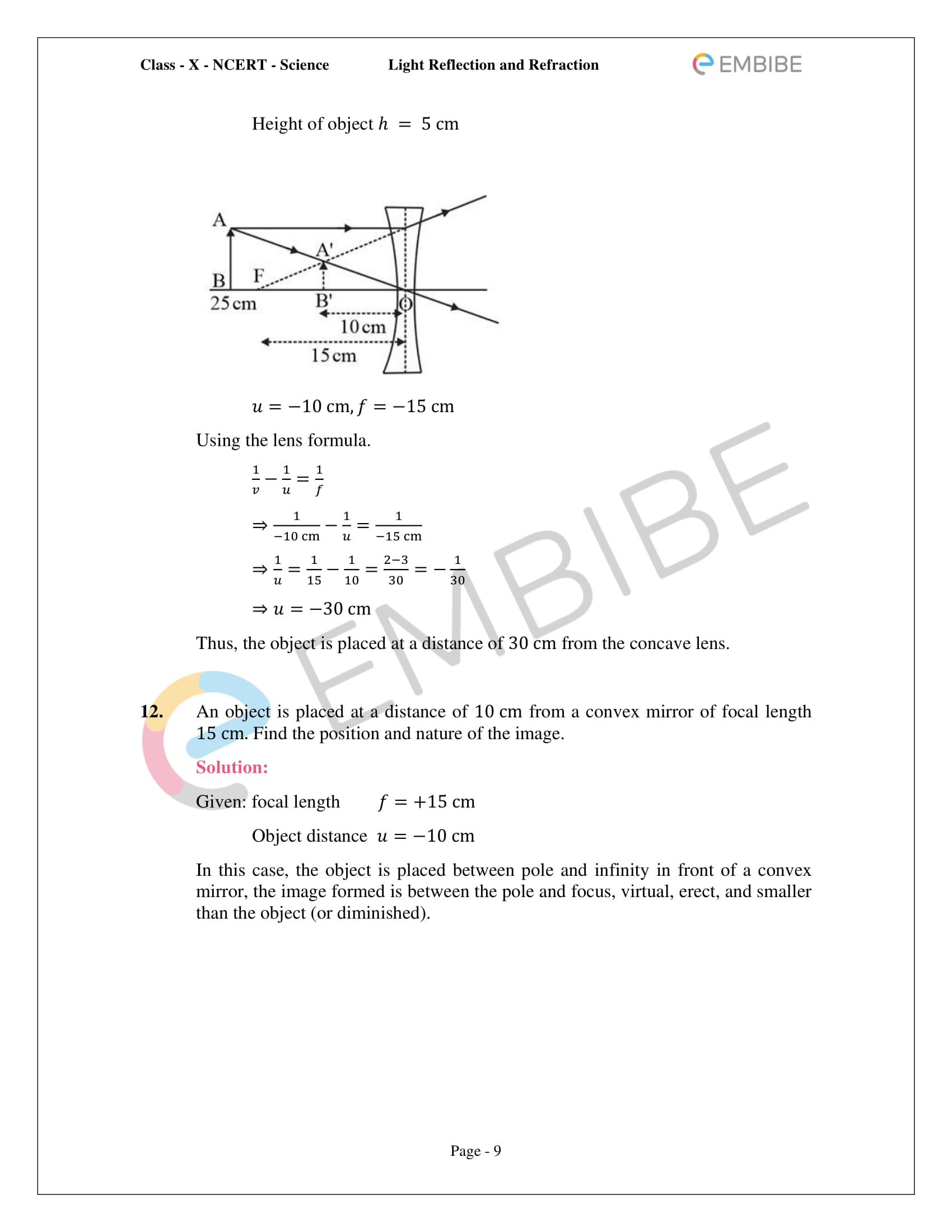 Cbse Ncert Solutions For Class 10 Science Chapter 10 Light Reflection And Refraction