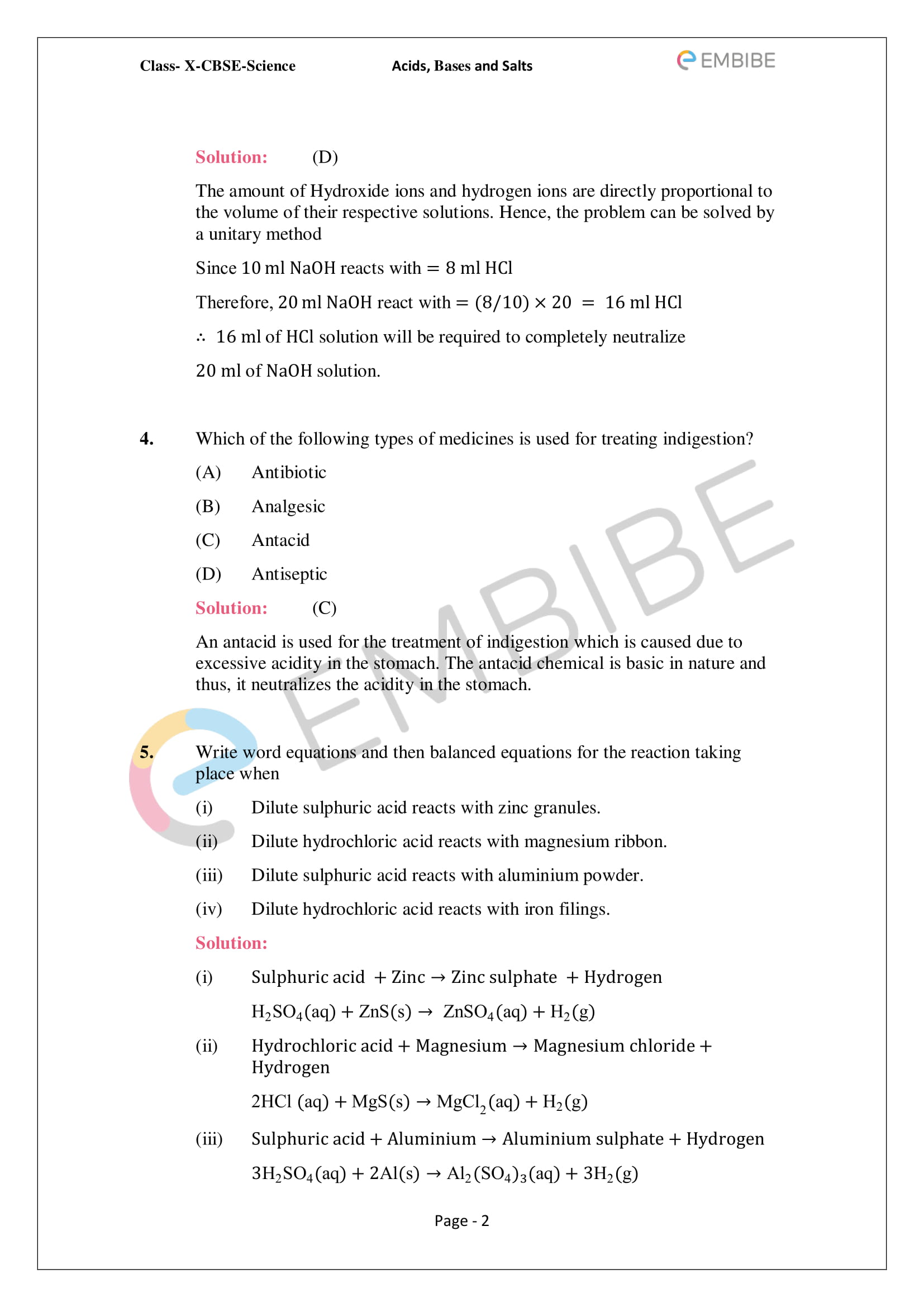 Ncert Solutions For Class 10 Science Chapter 2 Acids
