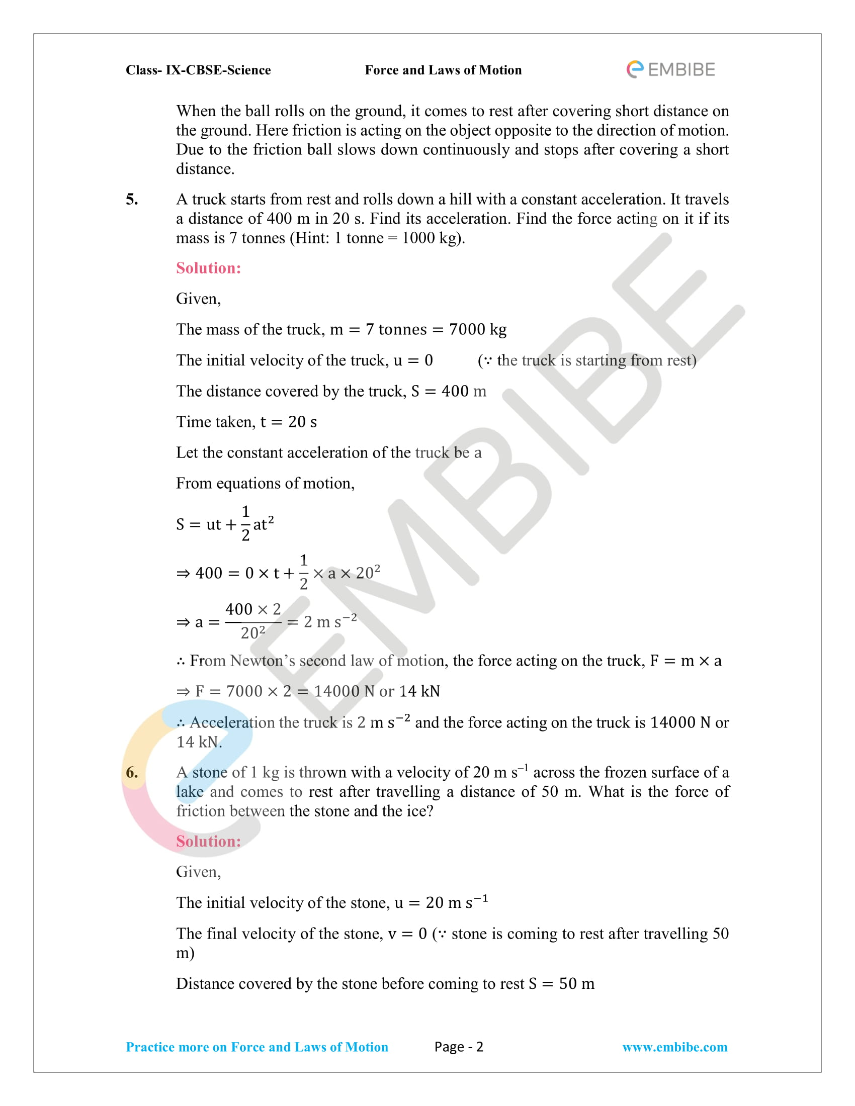 Cbse Ncert Solutions For Class 9 Science Chapter 9 Force And Laws Of Motion